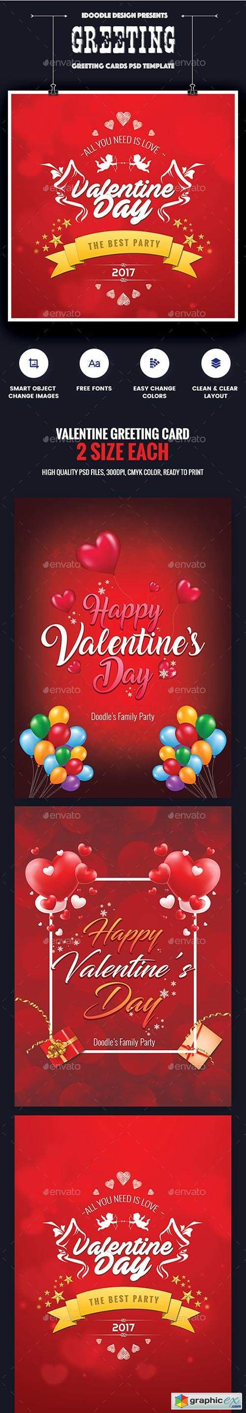 Valentine Greeting Card - 06 PSD [02 Size Each - 7x5 & 5x7]