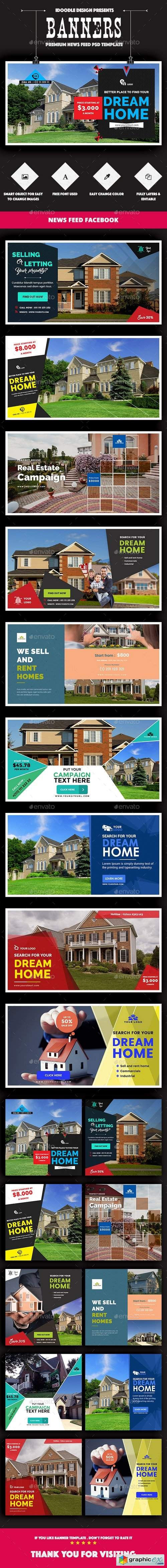 Facebook Real Estate Banners Ads - 20 PSD [2 Size Each]