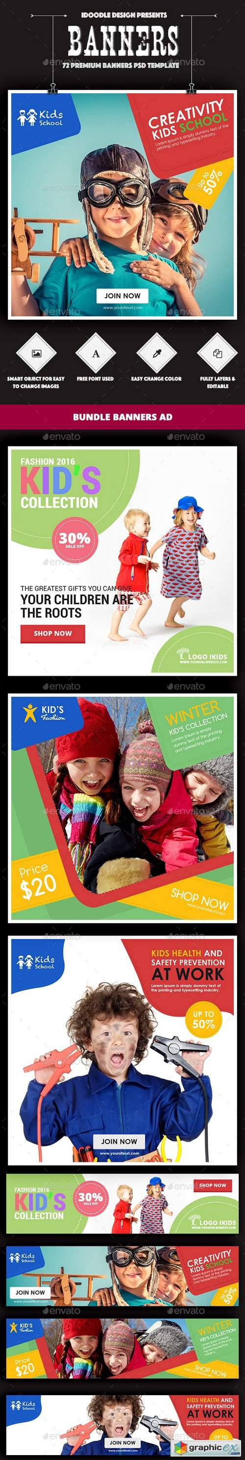 Bundle Kids Creative & School Banners Ad - 72 PSD [04 Sets]