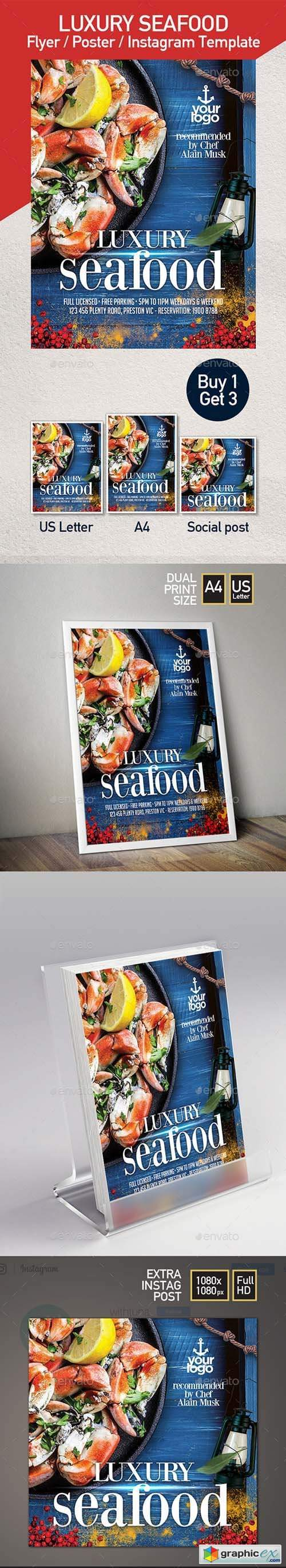 Seafood Restaurant - Set of 3 Flyer Templates