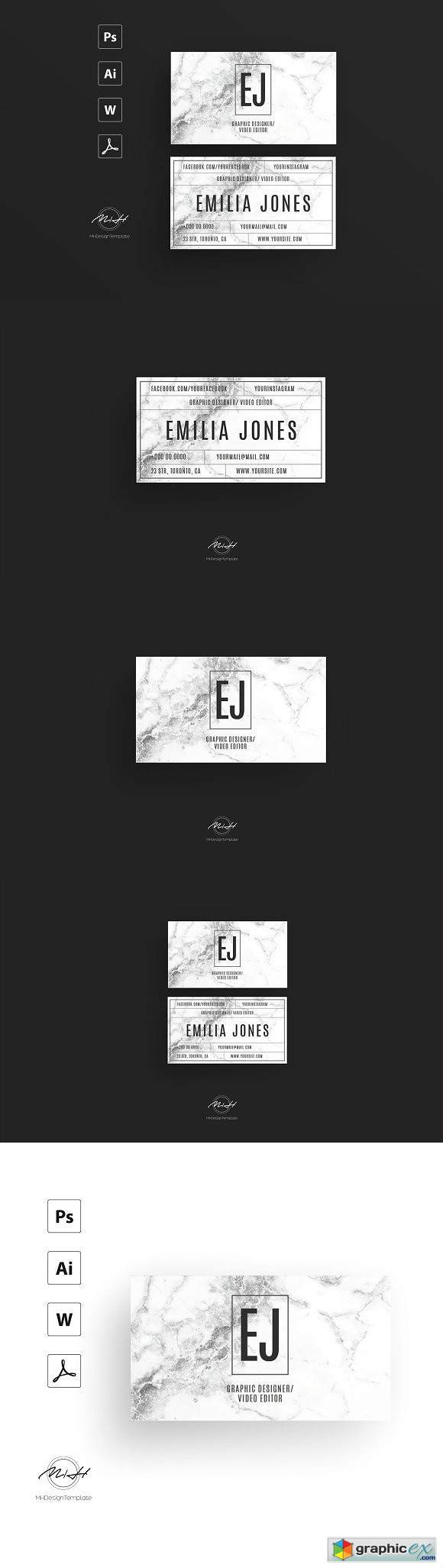White marble bussiness card template