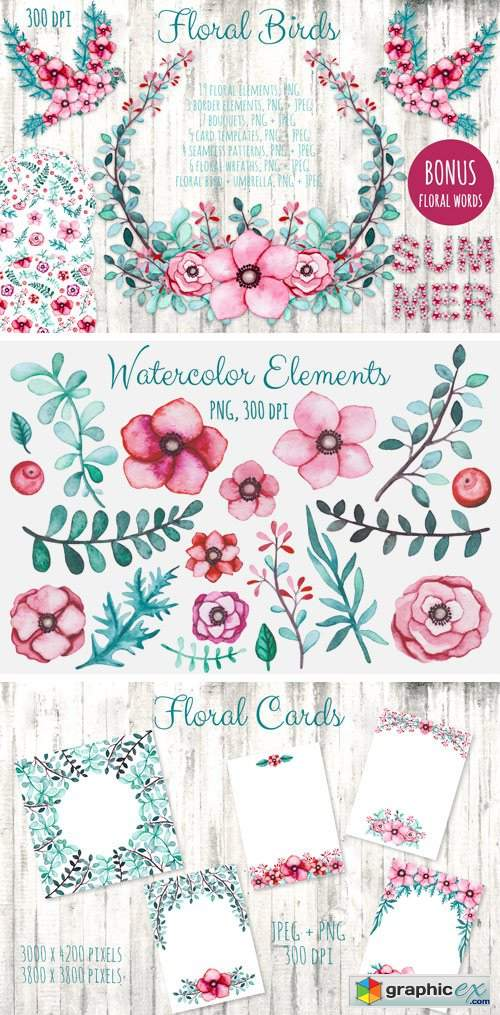 Watercolor Flowers and Birds Set
