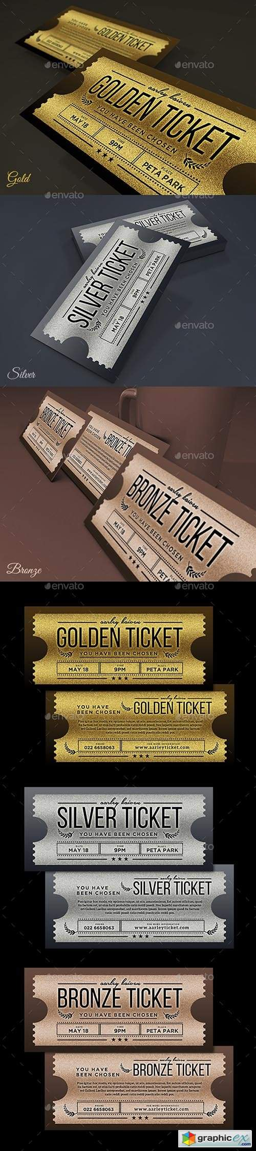 Multipurpose Golden / Silver Ticket Invitation