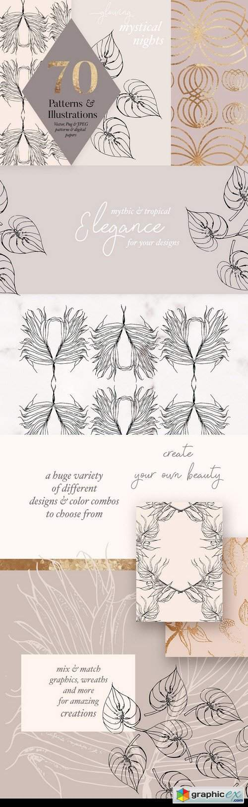 Autumn Gold Patterns & Illustrations