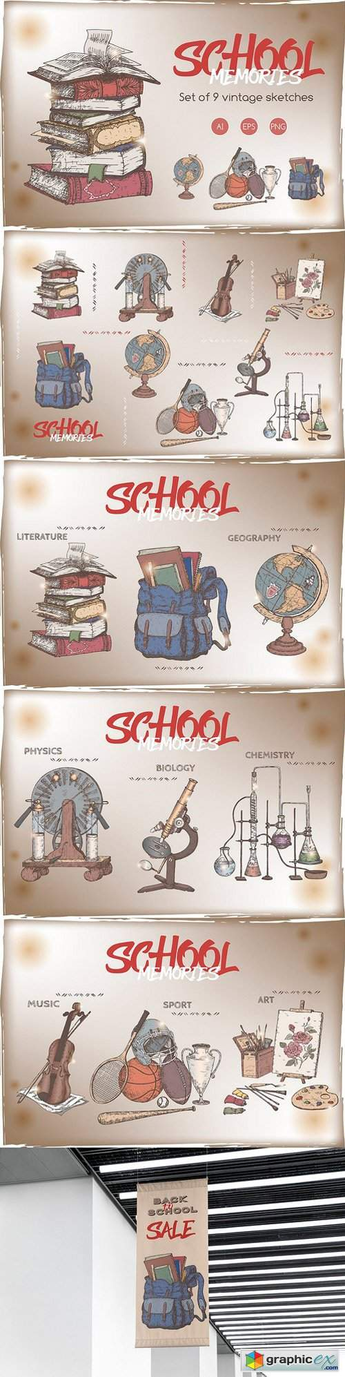School memories vintage sketch set