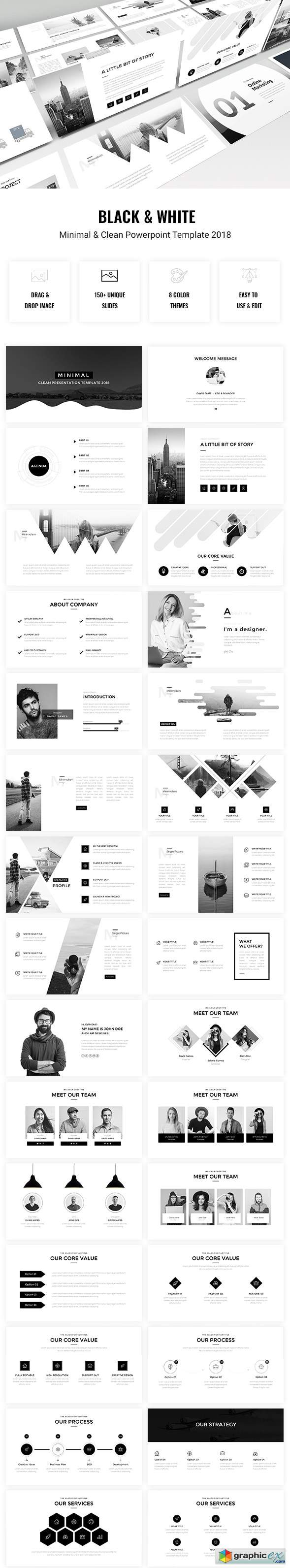 Minimal - Black & White Powerpoint Template 2018