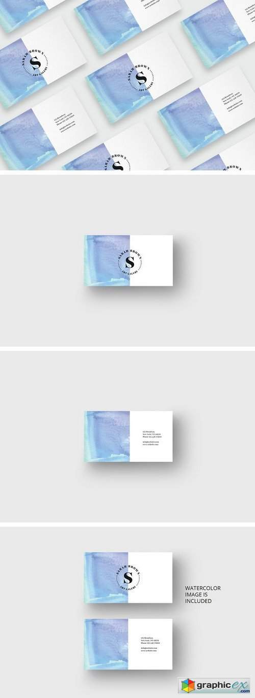 Watercolor business card template 1697624