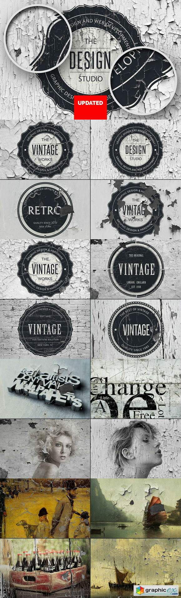 15 Vintage Overlay Textures Mock-up