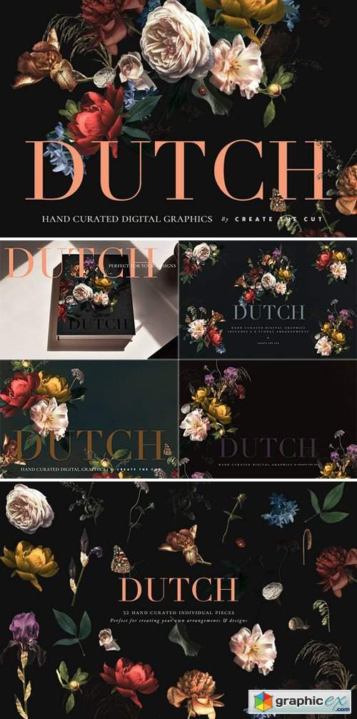 Vintage Floral Clip Art - Dutch