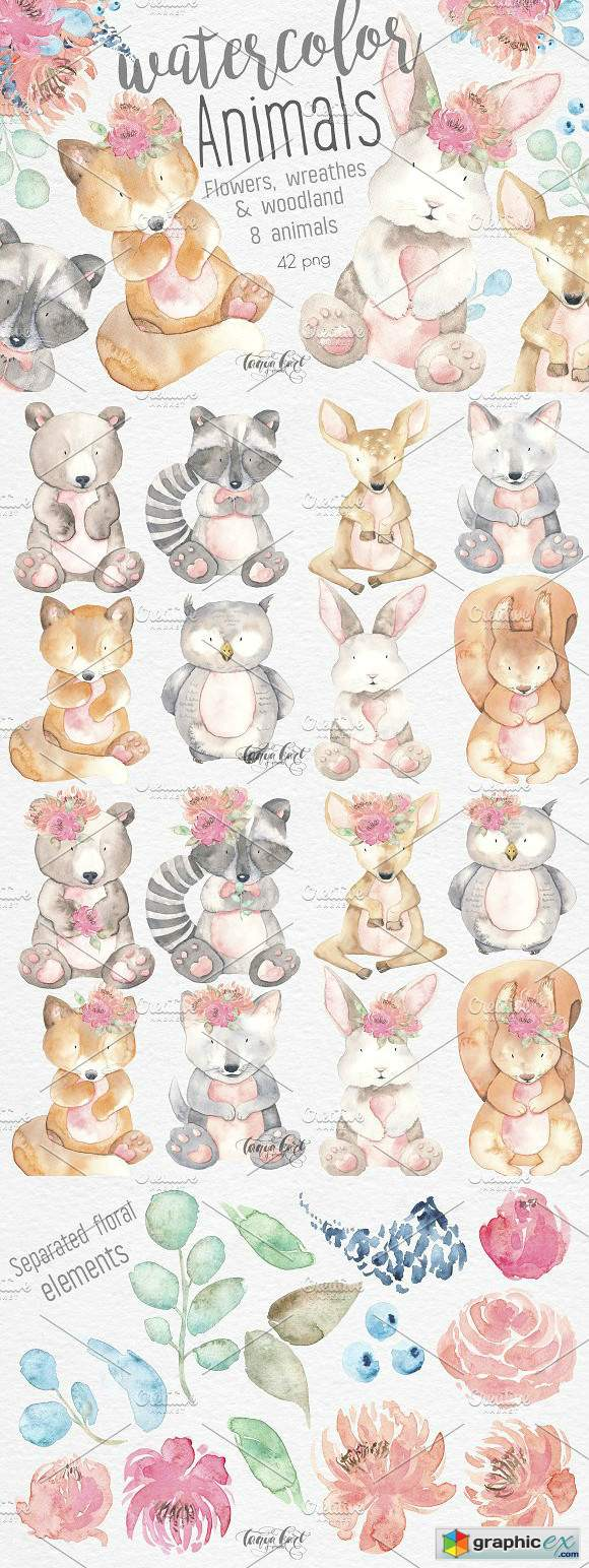 Watercolor Animals Flowers Clipart