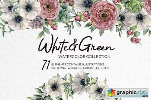 White&Green Watercolor Anemone Set
