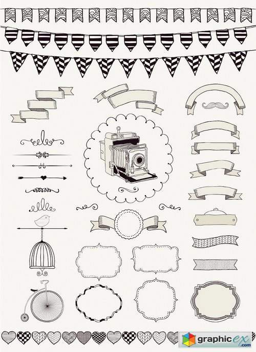 Hand Drawn Ribbons and Frames