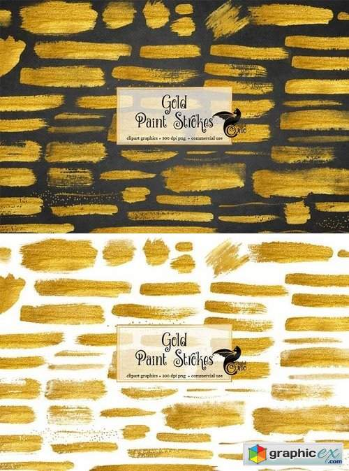 60 Gold Paint Strokes