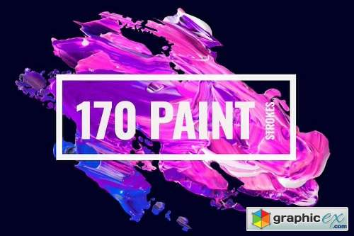 170 Abstract Paint Strokes Bundle
