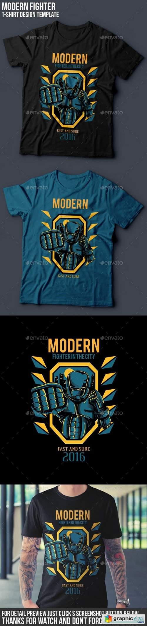 Modern Fighter T-Shirt Design
