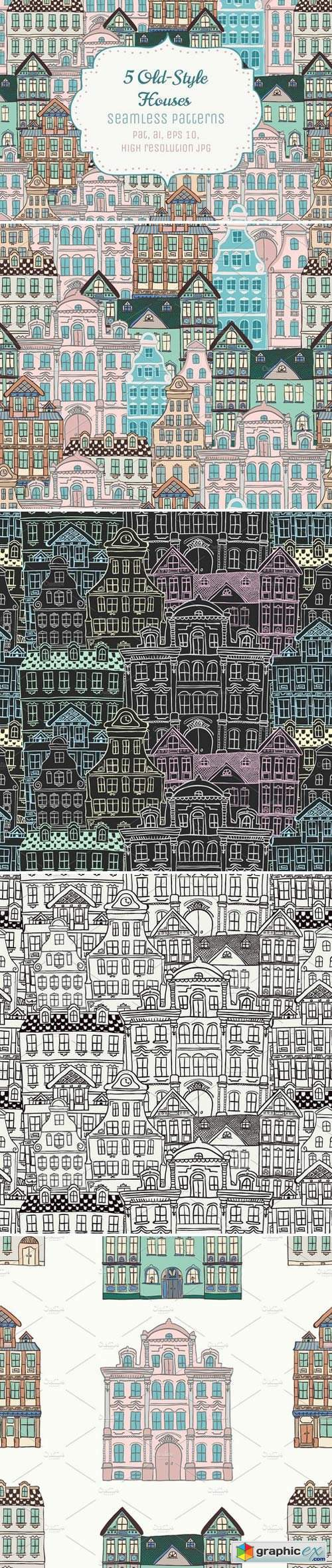 5 Doodle Seamless Patterns
