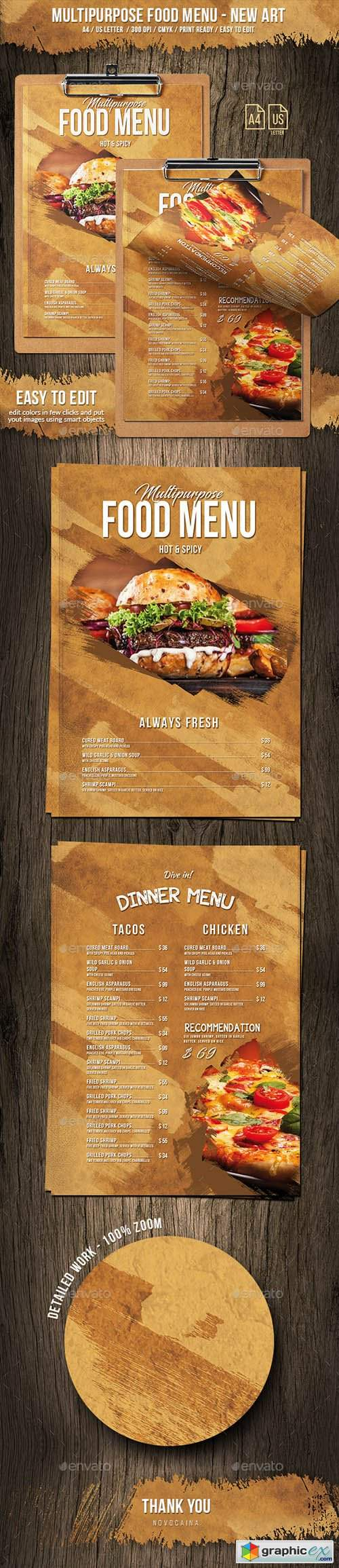 Multipurpose Food Menu - New Art - A4 & US Letter