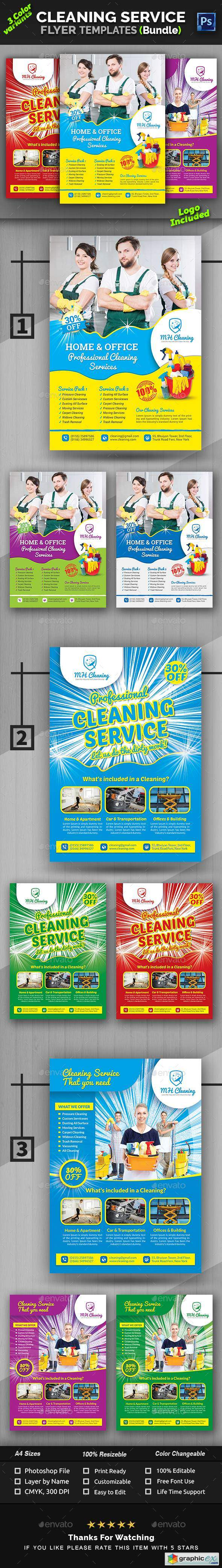 Cleaning Service Flyer Bundle 22542613