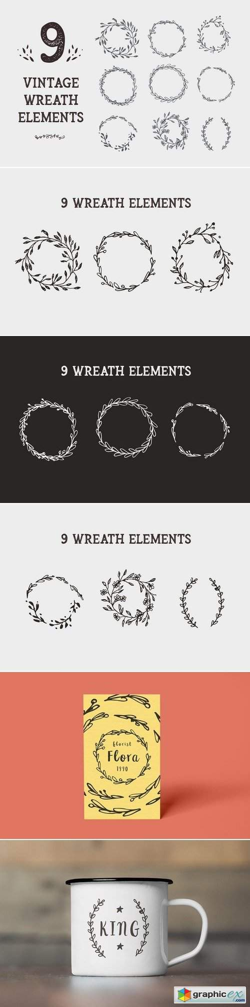 9 Vintage Wreath Graphic Design Elem