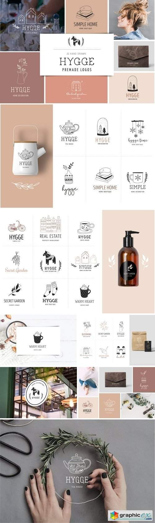 Hygge - premade logo collection