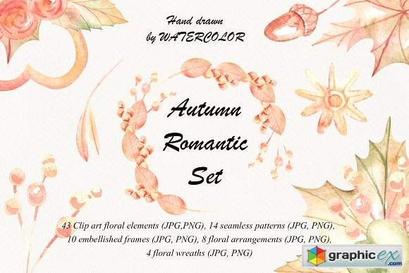 Autumn romantic watercolor set