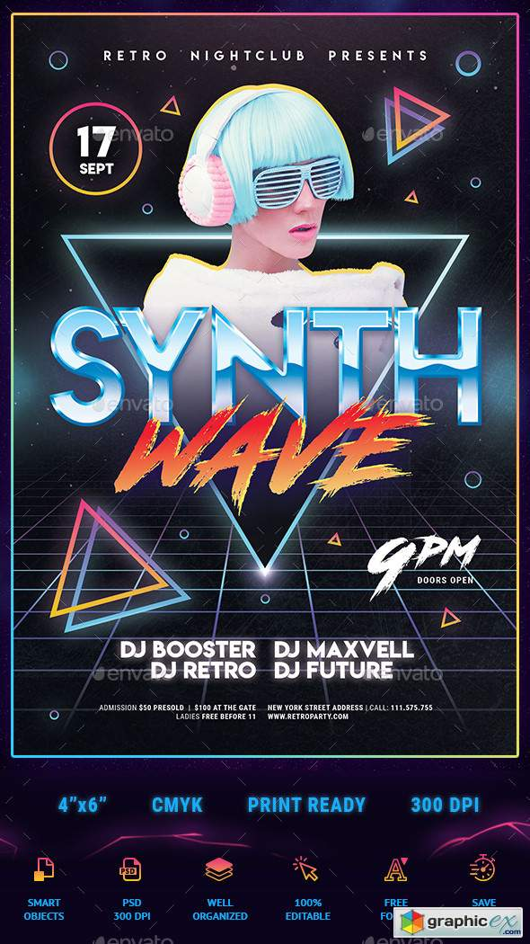 80s Synthwave Flyer 22530655 » Free Download Vector Stock Image