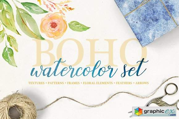 Boho watercolor set 2915774