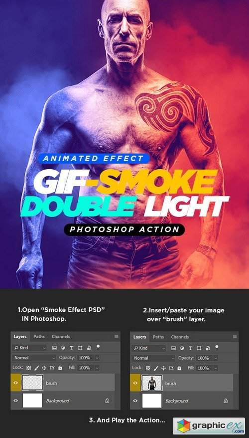 Gif Animated Smoke Double Lighting Photoshop Action » Free Download