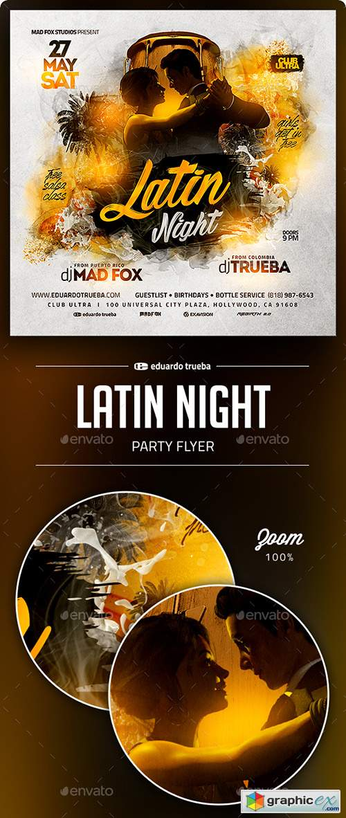 Latin Night Party Flyer 22605811