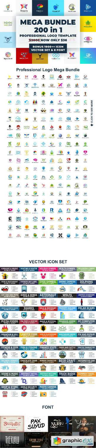 Logo Template Mega Bundle - 200 in 1