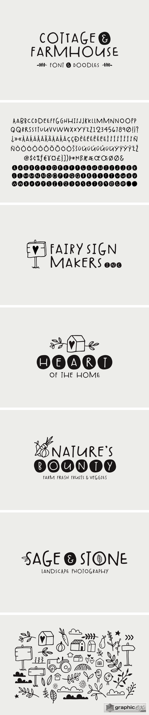 Cottage & Farmhouse Font + Doodles » Free Download Vector Stock