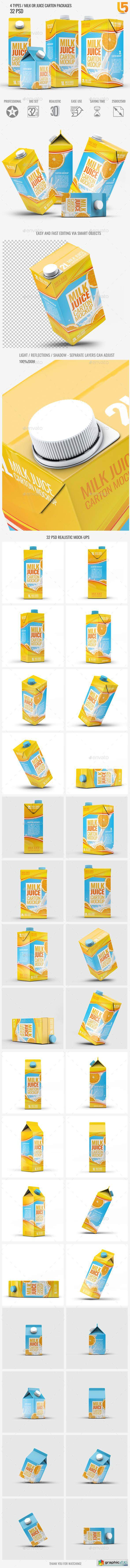 4 Types Milk Juice Cartons Bundle Mock-Up