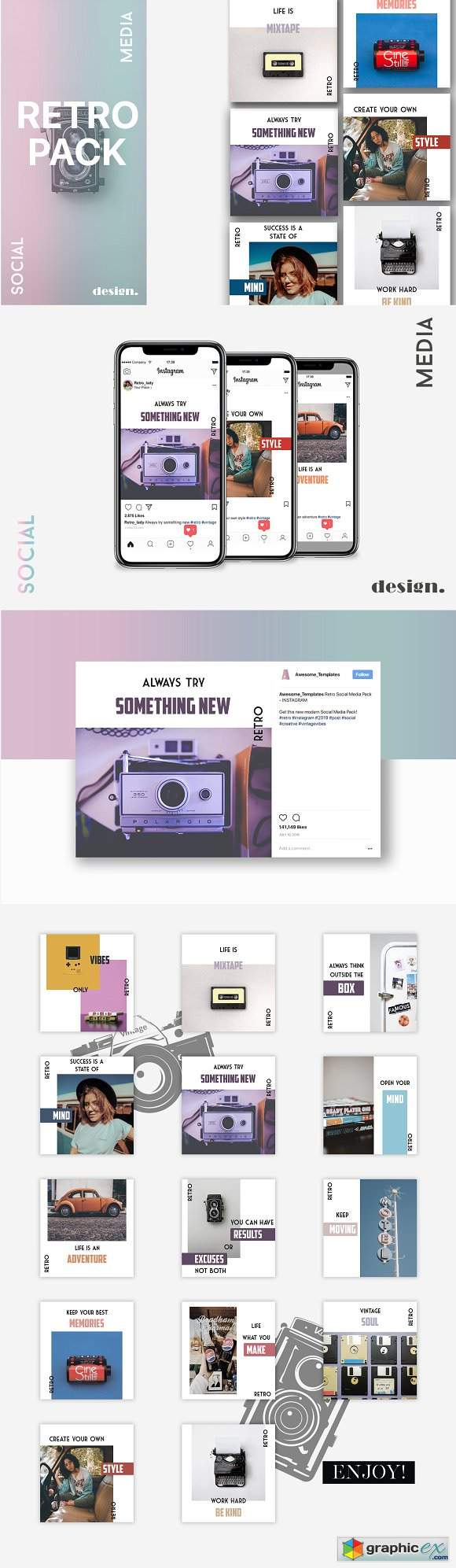 Retro Instagram Template Pack