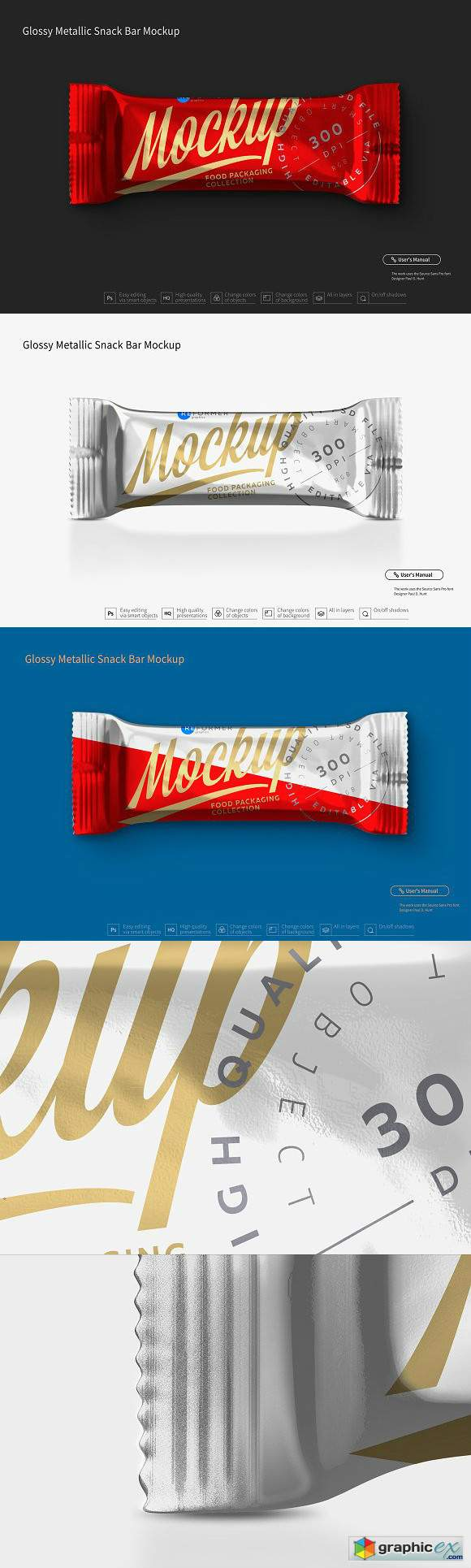 Glossy Metallic Snack Bar Mockup