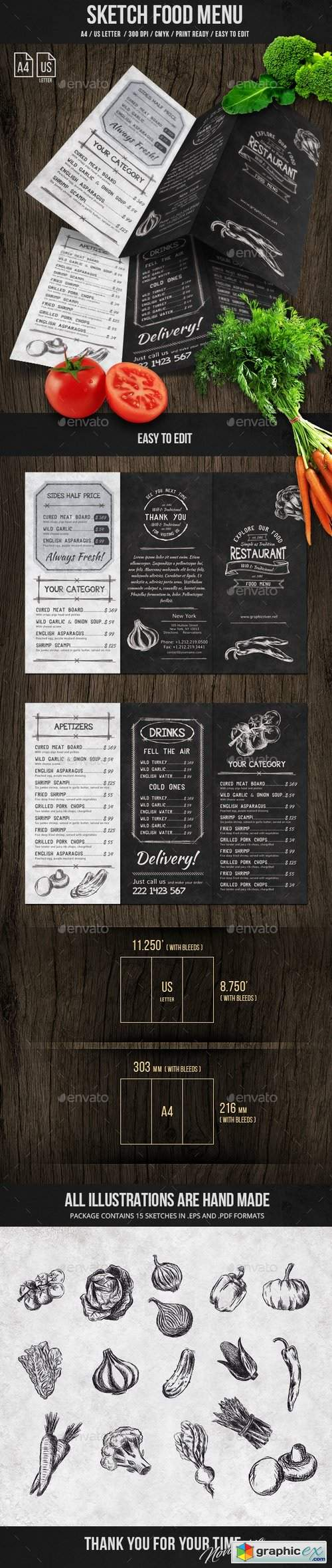 Sketch Trifold Food Menu A4 and US Letter