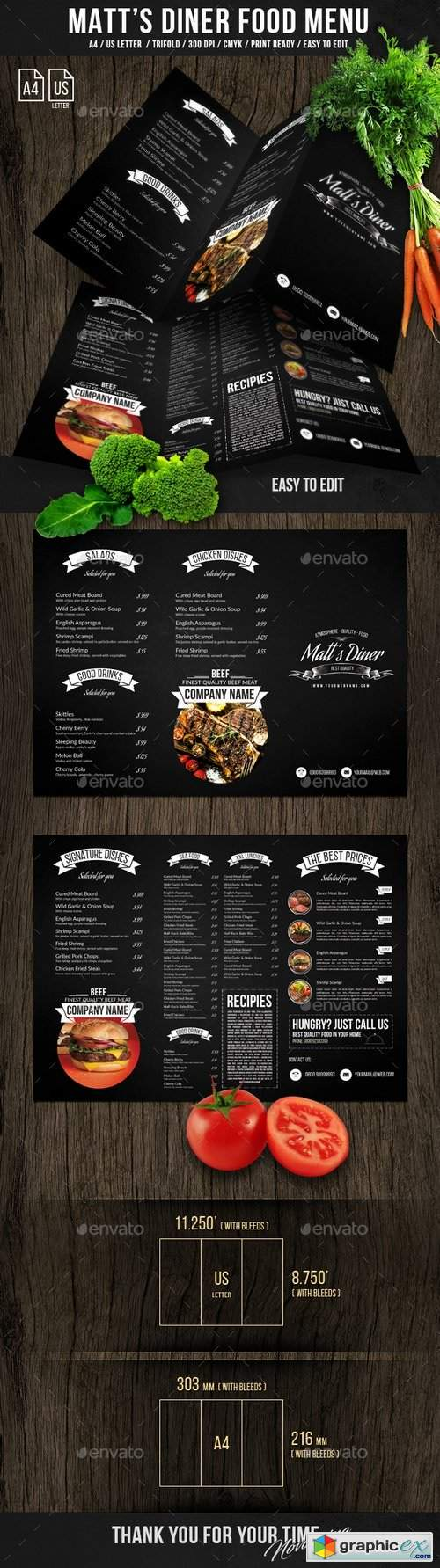 Matt's Diner Trifold A4 and US Letter Menu