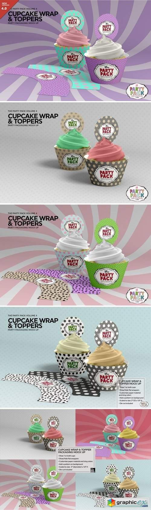 Cupcake Wrap and Topper Mock Up