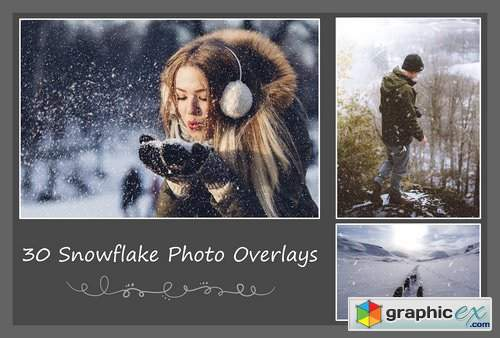 30 Snowflake Photo Overlays