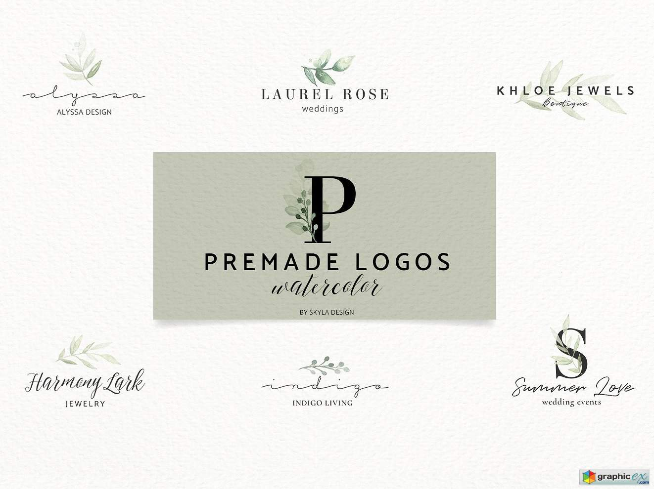 Premade Logos watercolor greenery