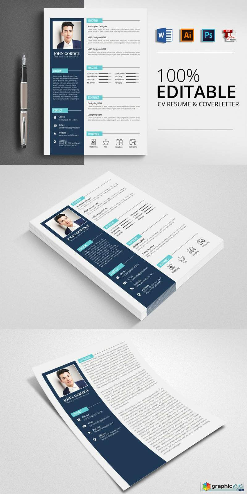Clean CV Resume Word Template