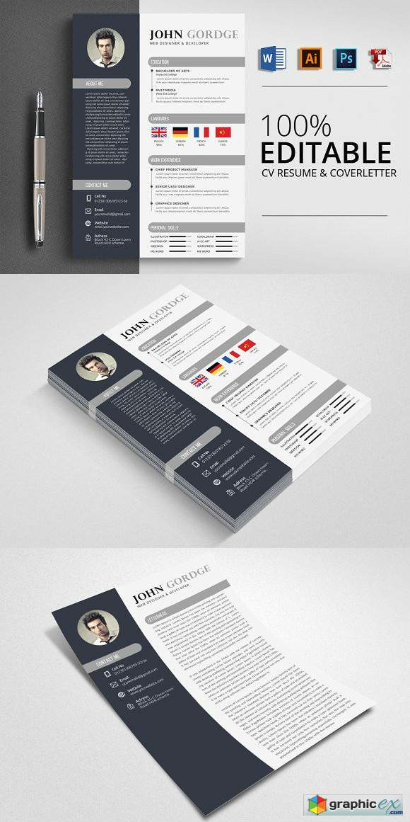 Creative CV Resume Word Design