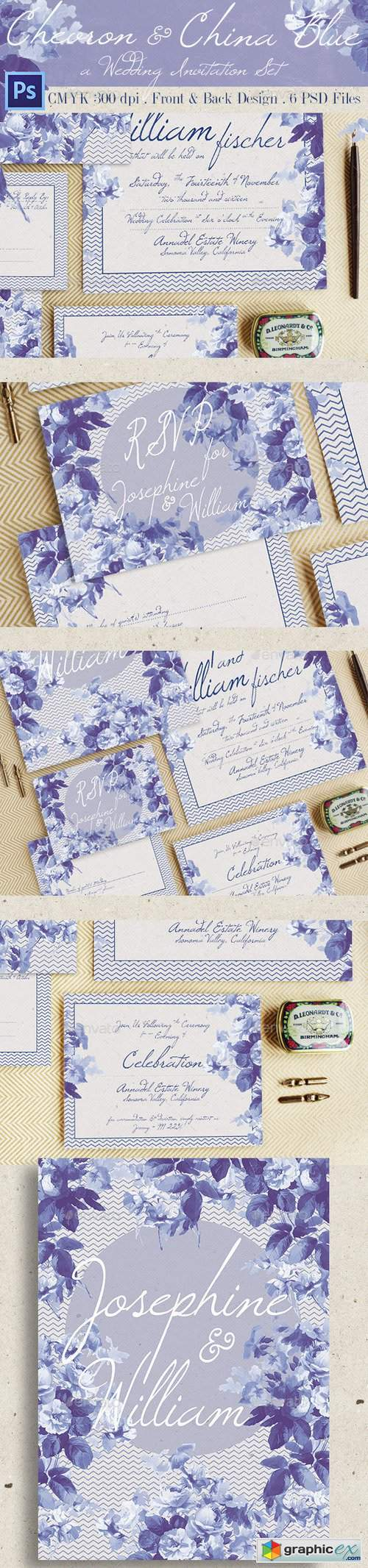 Chevron & China Blue Wedding Invitation