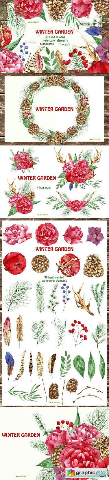 Watercolor set winter garden