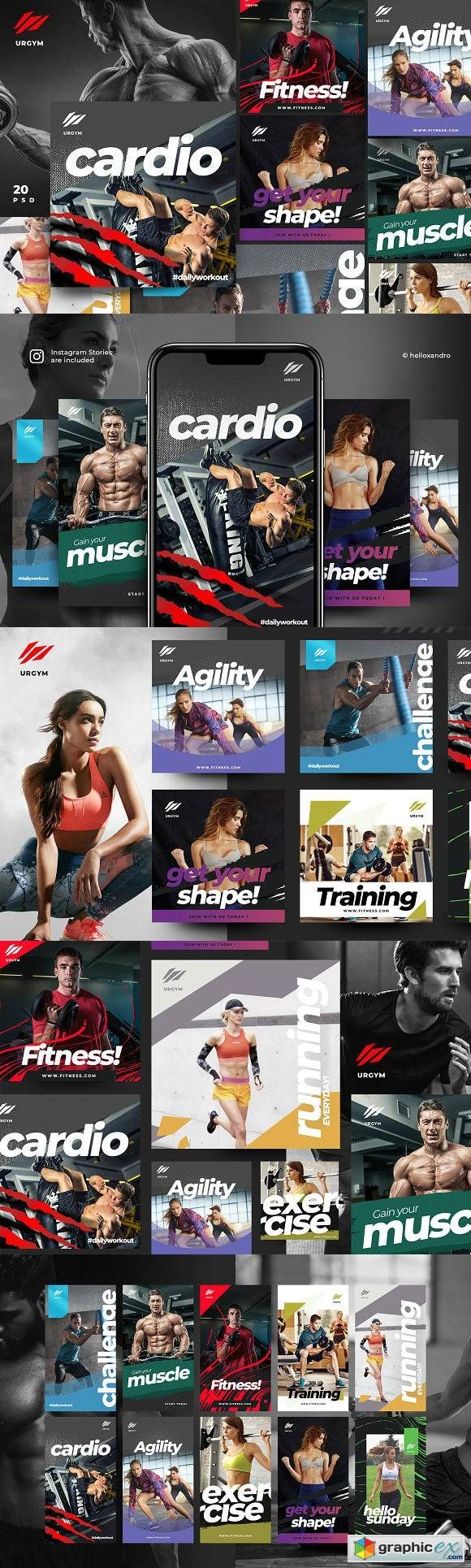 Fitness & Gym instagram pack 2.0