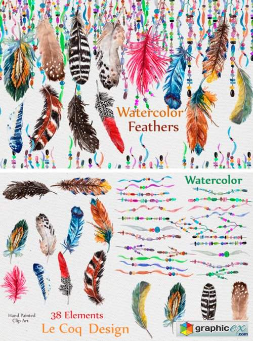 Feathers Watercolor Clipart