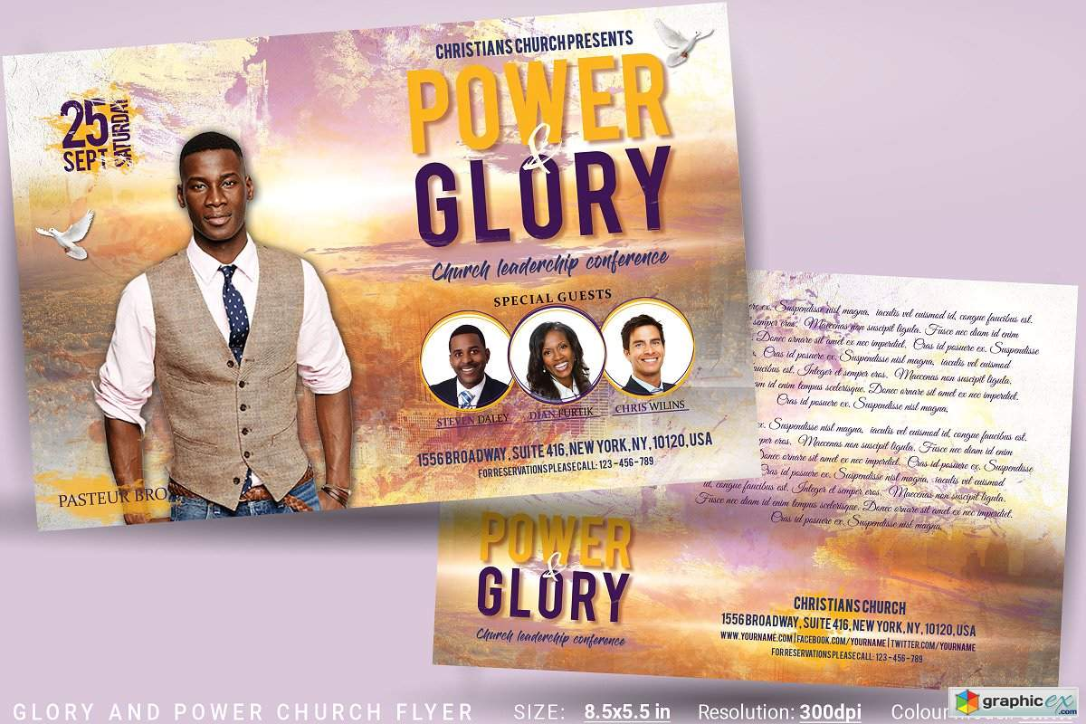 glory and power church flyer  u00bb free download vector stock