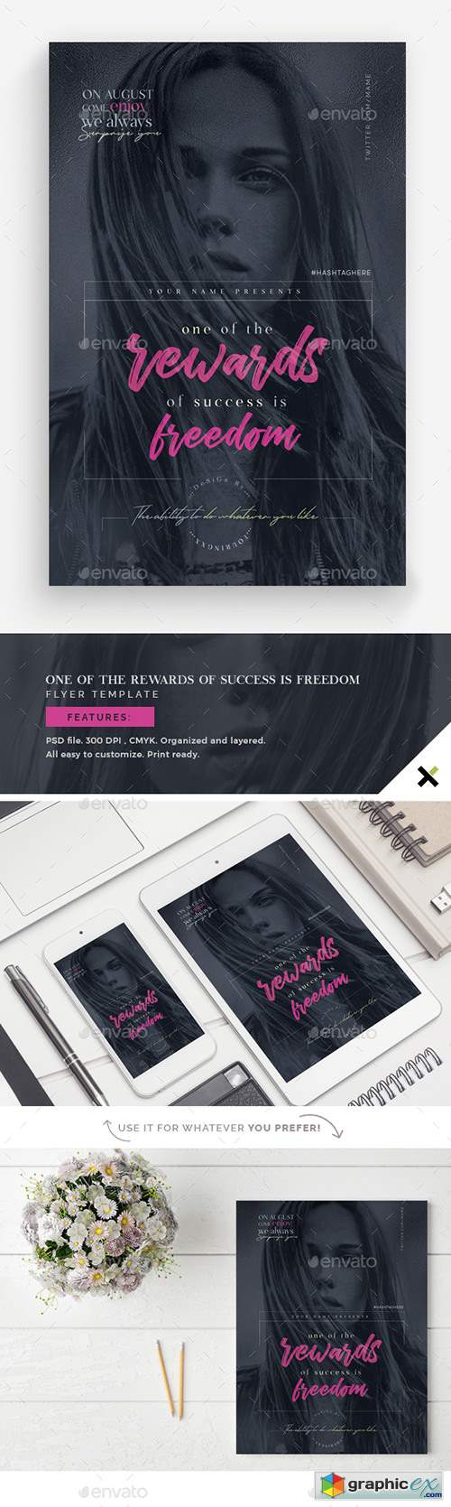On Of the Rewards of Success is Freedom Flyer Template