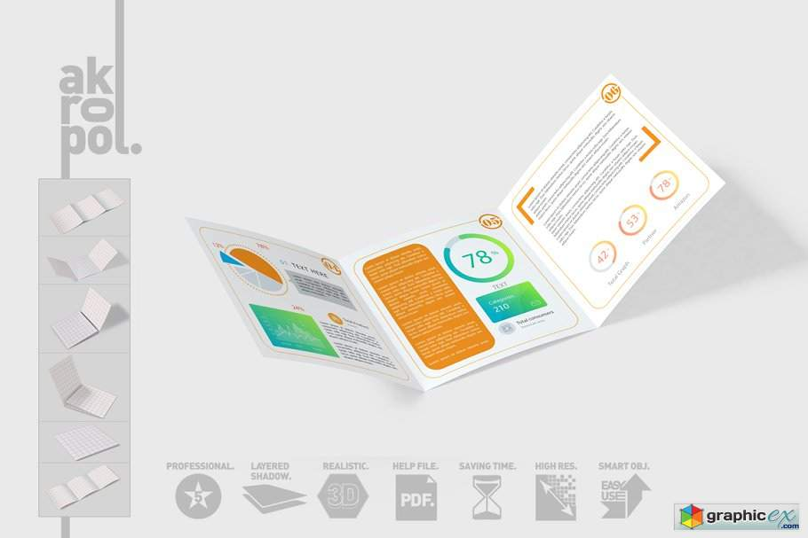 Square Trifold Brochure Mock-up 3054995
