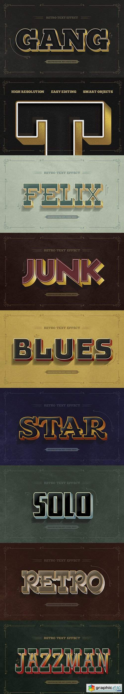 Retro Text Effects - 10 PSD