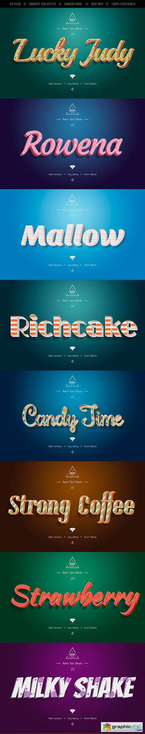 Retro Colorful Text Effects - 10 PSD